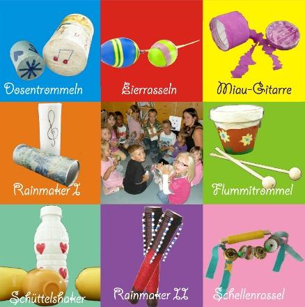 Bilder von Dosentrommeln, Eierrasseln, Miau-Gitarre, Rainmakern, Flummitrommel, Schüttelshaker, Schellenrassel und einer spielenden Gruppe von Kindern